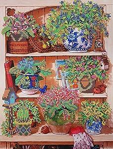 Bead Embroidery kit Garden Shelf Needlepoint Blooming Flowers Beadwork Pattern Kitchen Wall Decor DIY Gift idea Partial Embroidery Handcraft