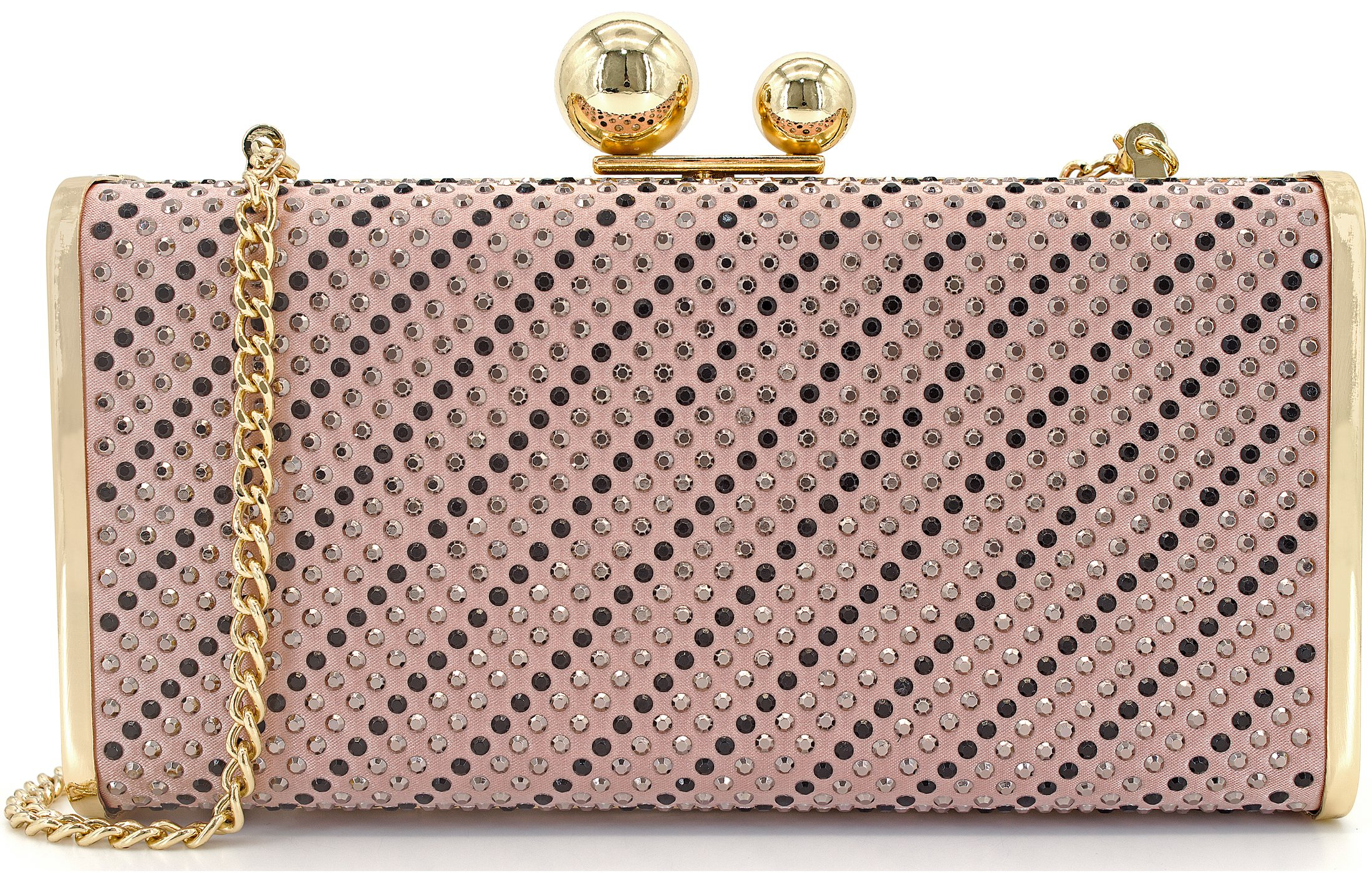 Womens Evening Clutch Purse with 2 Balls Clasp Large Hardcase Rhinestuds Clutch Bag Pink