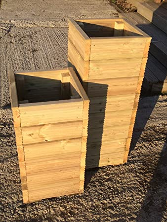 Tall Large Decking Wooden Square Garden Planters 0 77m 1 01m