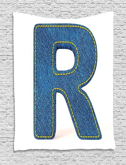 Amazon Com Ambesonne Letter R Tapestry Retro Denim Style Alphabet