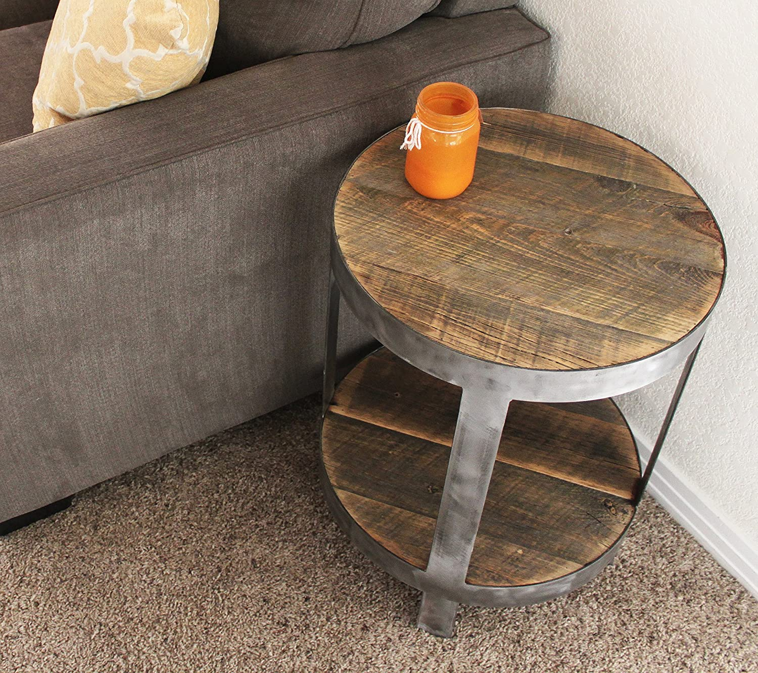 Amazon Reclaimed Wood Round Side Table End Table Nightstand