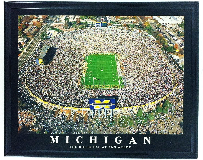 Framed Football Michigan Ann Arbor Aerial Stadium Print Wall Art F7518A