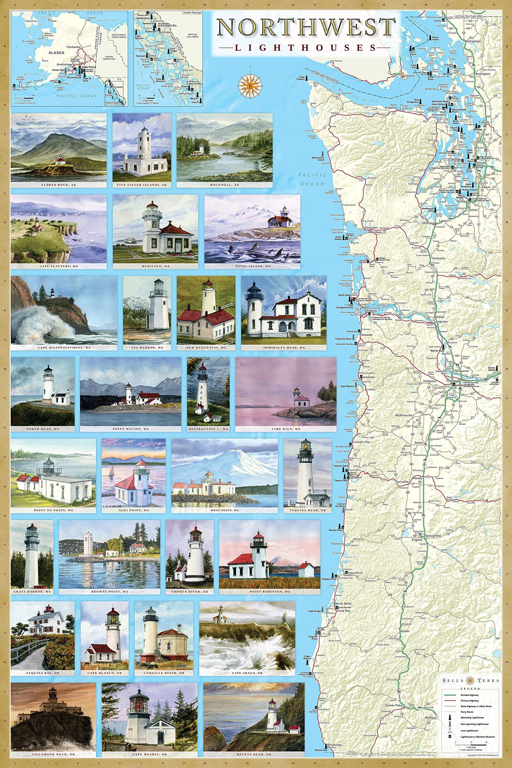 Map Of Alaska And Washington State.Northwest Lighthouses Illustrated Map Guide Laminated Poster