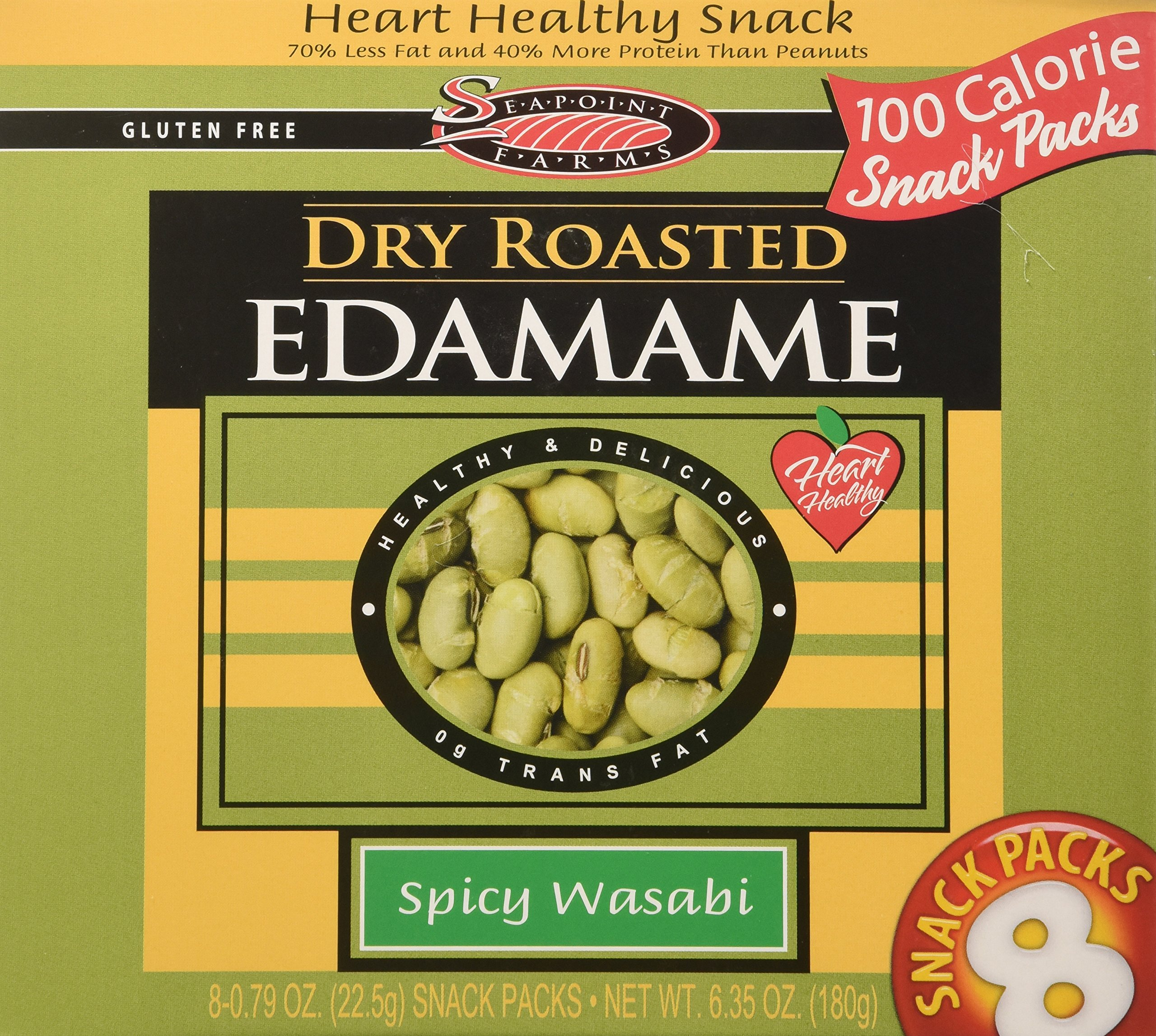 Seapoint Farms Dry Roasted Edamame Spicy Wasabi 8 Snack Packs by Seapoint Farms