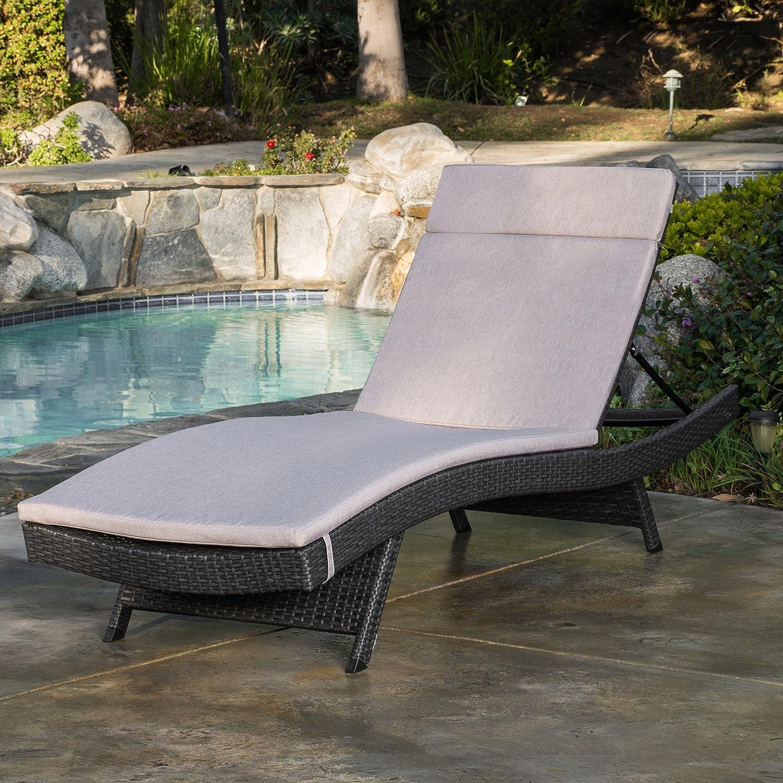 Amazon Com Olivia Outdoor Grey Wicker Adjustable Chaise Lounge With Textured Beige Cushion Garden Outdoor