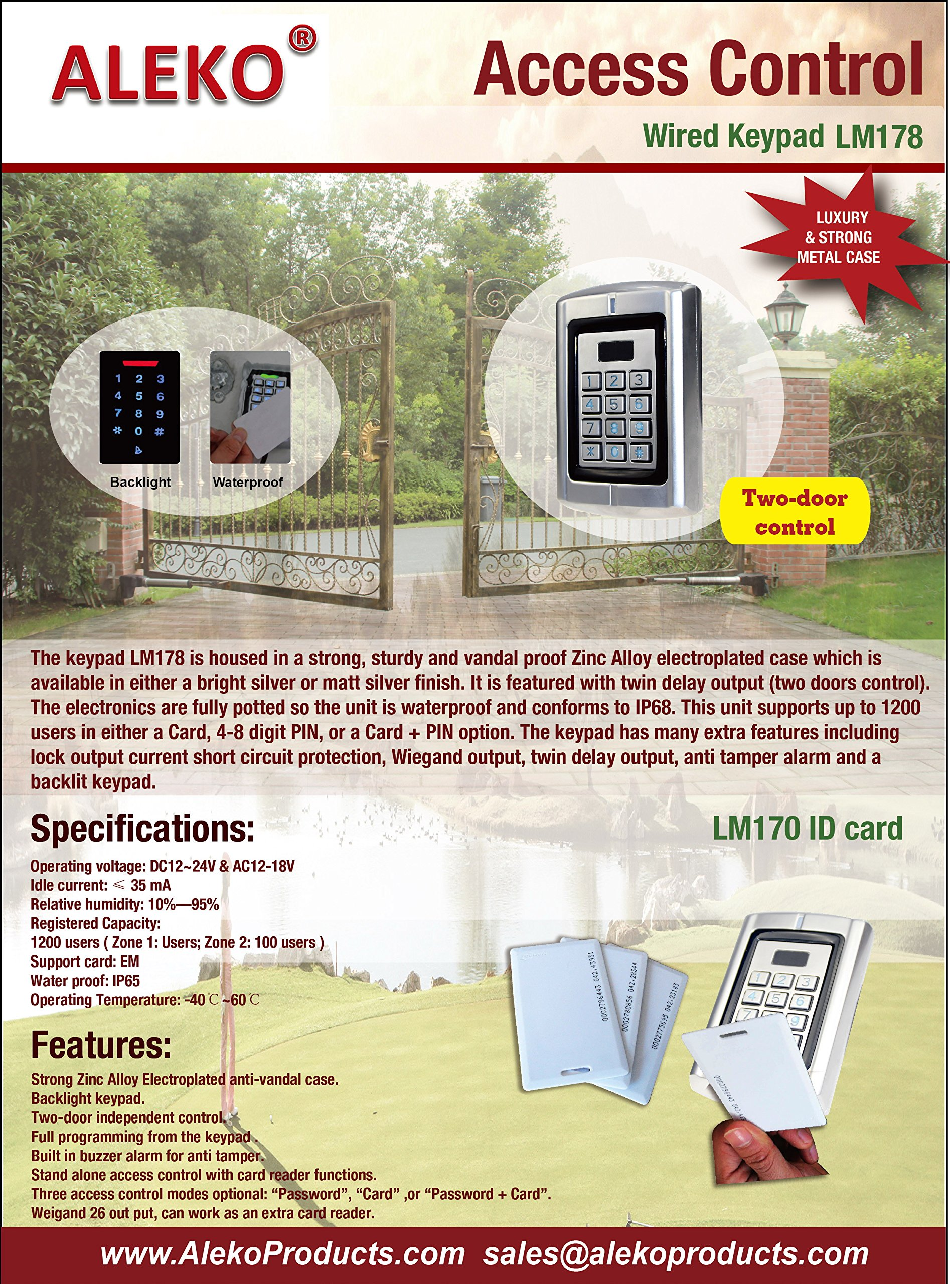 ALEKO LM178 12/24V Universal Wired Metal Alloy Water Proof Two Door Control Keypad With Backlight