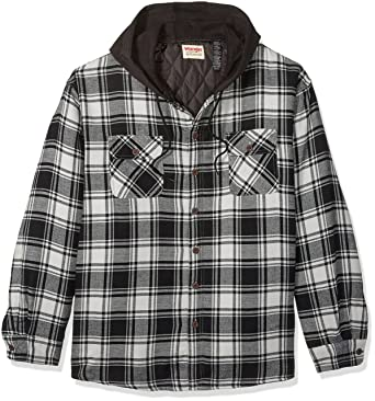 Amazon.com: Wrangler Authentics Men's Big-Tall Long Sleeve Quilted ... : quilted flannel shirt jacket - Adamdwight.com