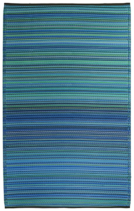 Fab Habitat Cancun Indoor/Outdoor Rug, Turquoise U0026 Moss Green, (3u0027