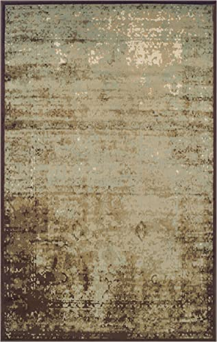 SUPERIOR Modern Afton Acid Wash Collection Area Rug, 10mm Pile Height with Jute Backing, Vintage Distressed Design, Anti-Static, Water-Repellent Rugs – Slate, 4 x 6 Rug