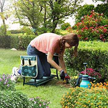 Folding Garden Seat and Bench with Kneeling Pad SONGMICS Garden Kneeler Blue and Christmas Pattern UGGK050B01