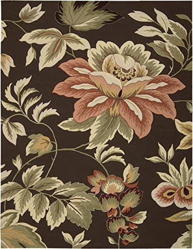 Rug Squared Laurel Floral Area Rug , 8-Feet by 10-Feet 6-Inches, Chocolate