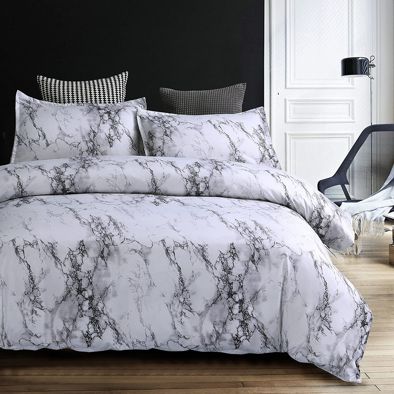 Nattey Duvet Cover Set White Marble Bedding Set With Zipper (Twin, White Marble)