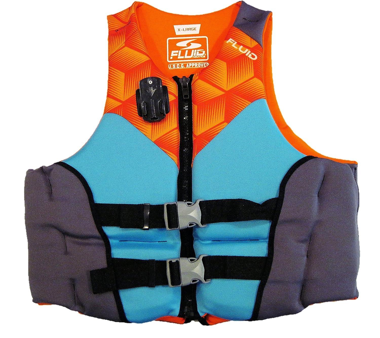 Fluid Aquaticsメンズevoprene Life Jacket withカメラマウント(XL) X-Large オレンジ/ブルー B074PSXNMT
