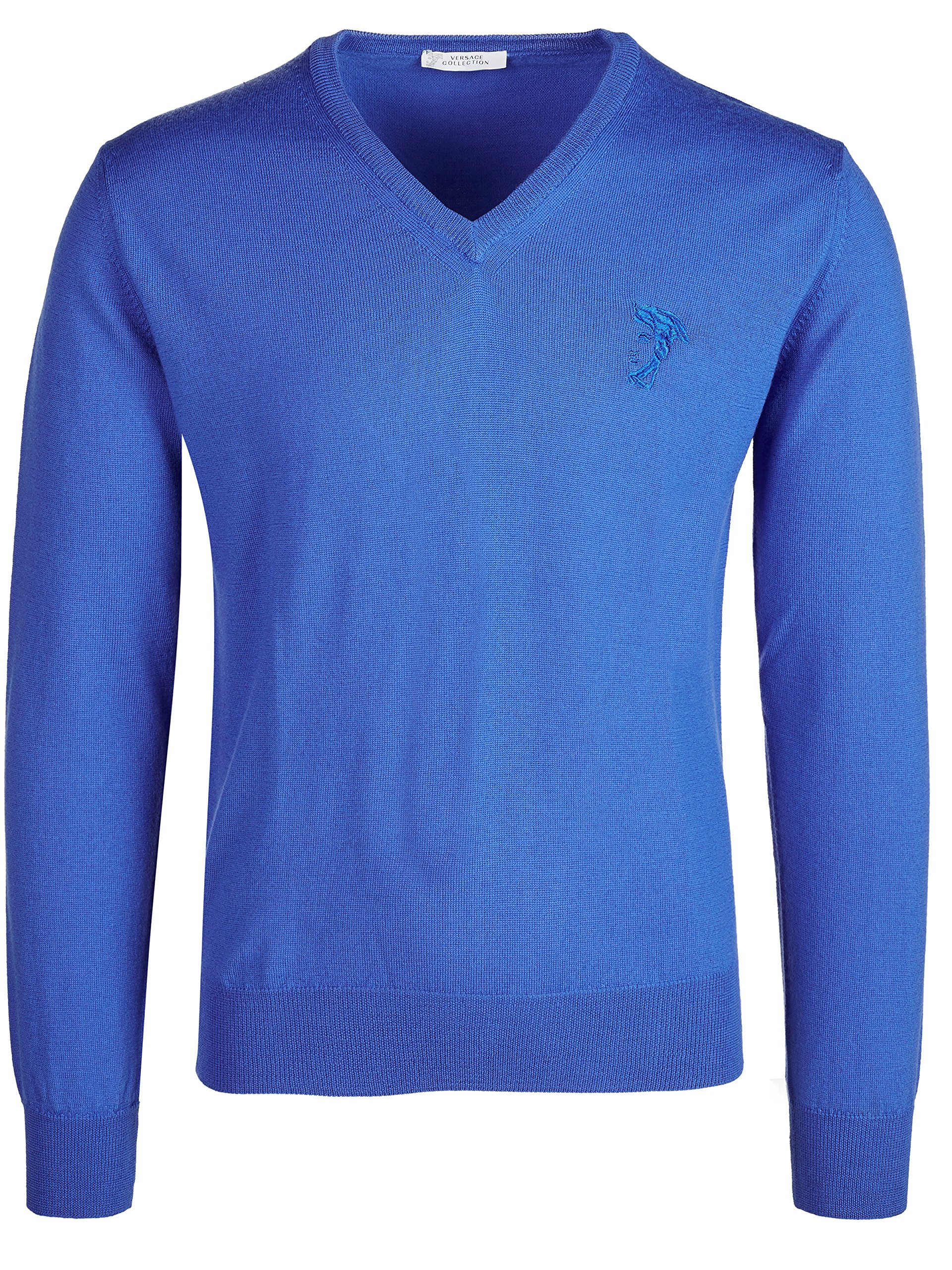 Versace Collection Medium Blue V-neck Wool Sweater (S)