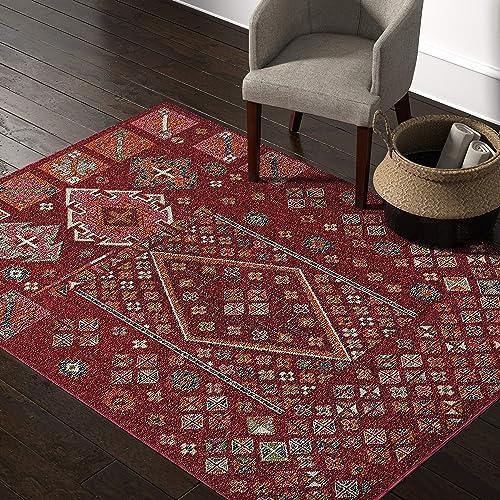 Rivet Red Mosaic Multi-Print Wool Rug, 5 x 8 , Red