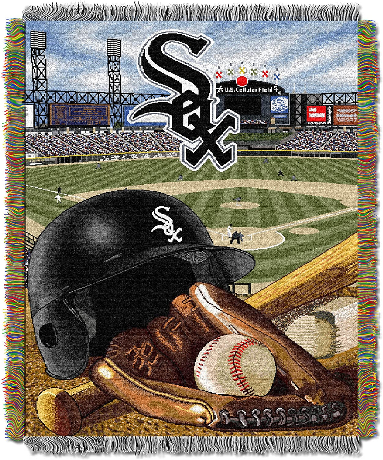 Chicago White Sox Officially Licensed MLB Home Field Advantage Woven Tapestry Throw Blanket