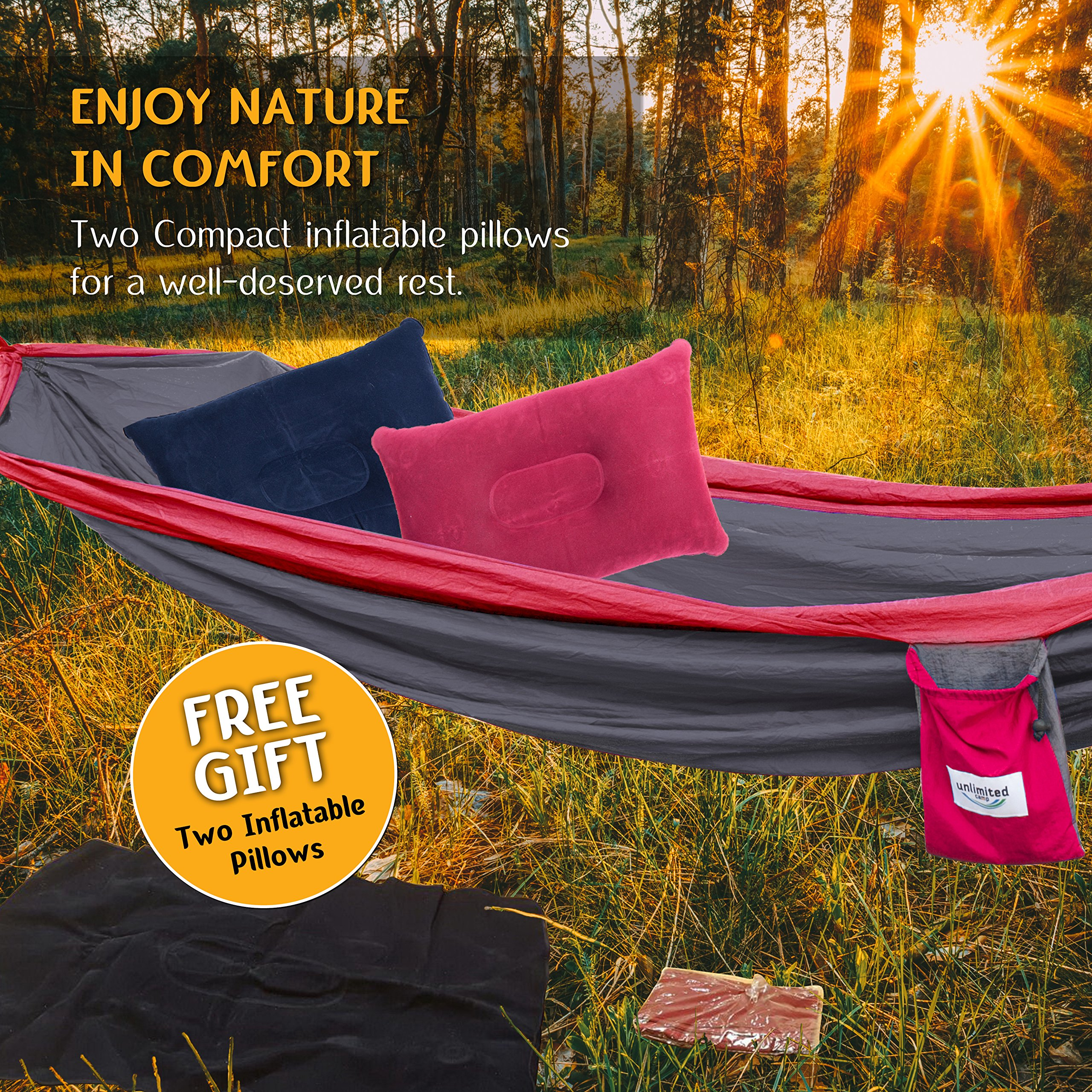 Double Camping Hammock by Unlimited Camp: 3 Seam Nylon Portable Lightweight Bedding for Camping, Hiking, Beach, or Yard plus Free Pillows, Ropes, and Special Straps