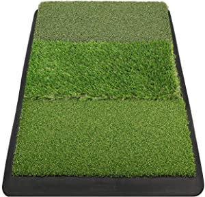 """Champkey 17"""" 27"""" Premium Tri-Turf Golf Hitting Mat - Heavy Duty Rubber Base Practice Mat Portable Driving, Chipping, Training Aids Ideal for Indoor & Outdoor"""