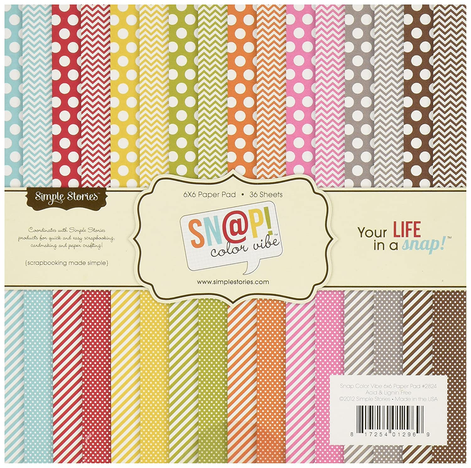"""Sn@p! Color Vibe Collection Paper Pad 6""""X6"""" 36 Sheets-"" Simple Stories SNAP2824"