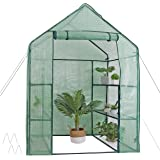 Mini Walk-in Greenhouse 3 Tier 6 Shelves with PE Cover and Roll-Up Zipper Door, Waterproof Cloche Portable Greenhouse…