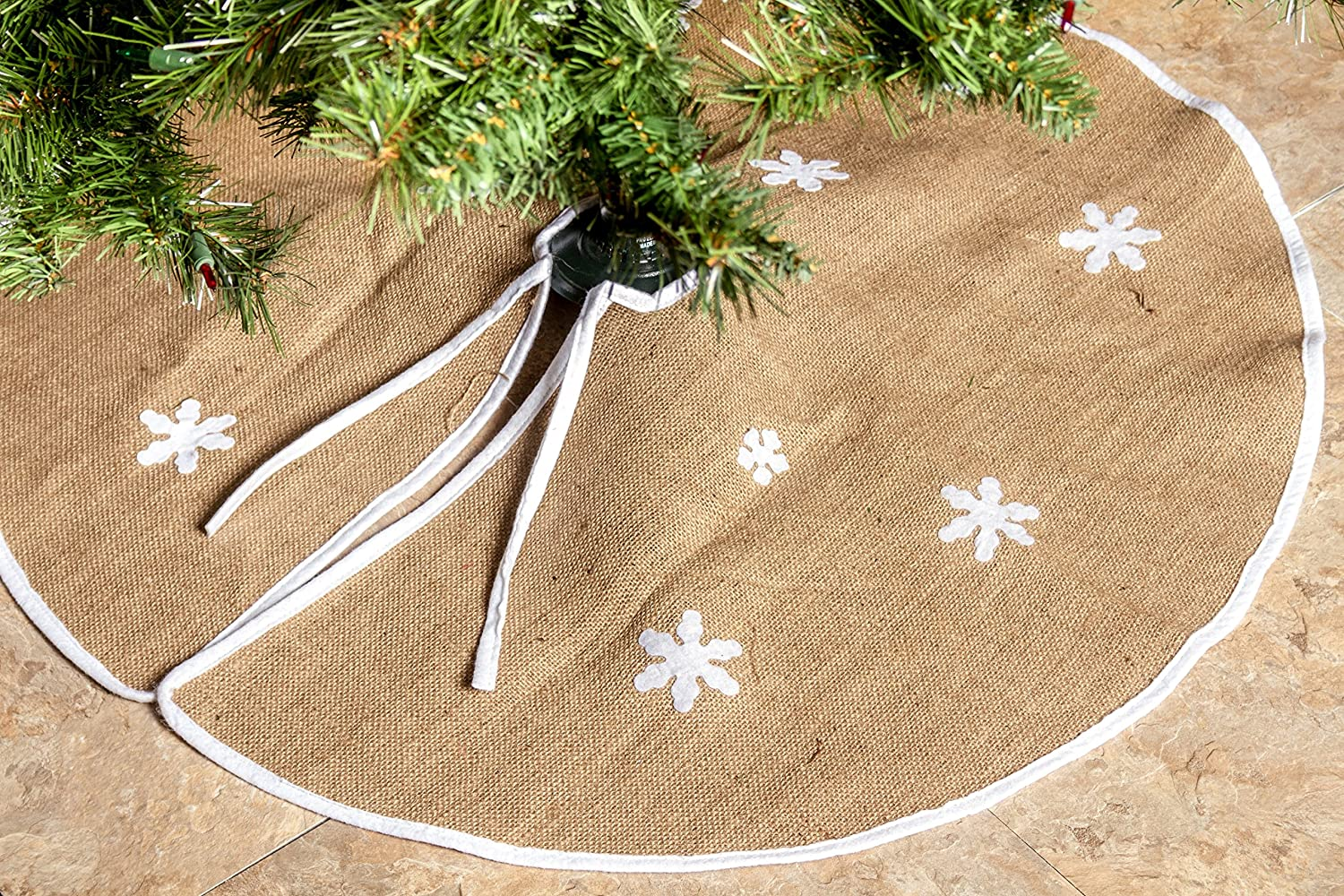 Imperial Home Rustic Burlap Christmas Tree Skirt - 36