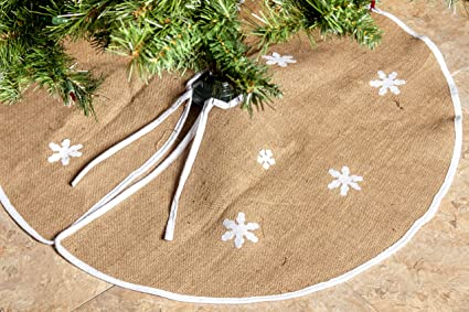 rustic burlap christmas tree skirt 36 country xmas tree decor skirts w snowflakes - Burlap Christmas Tree Skirt