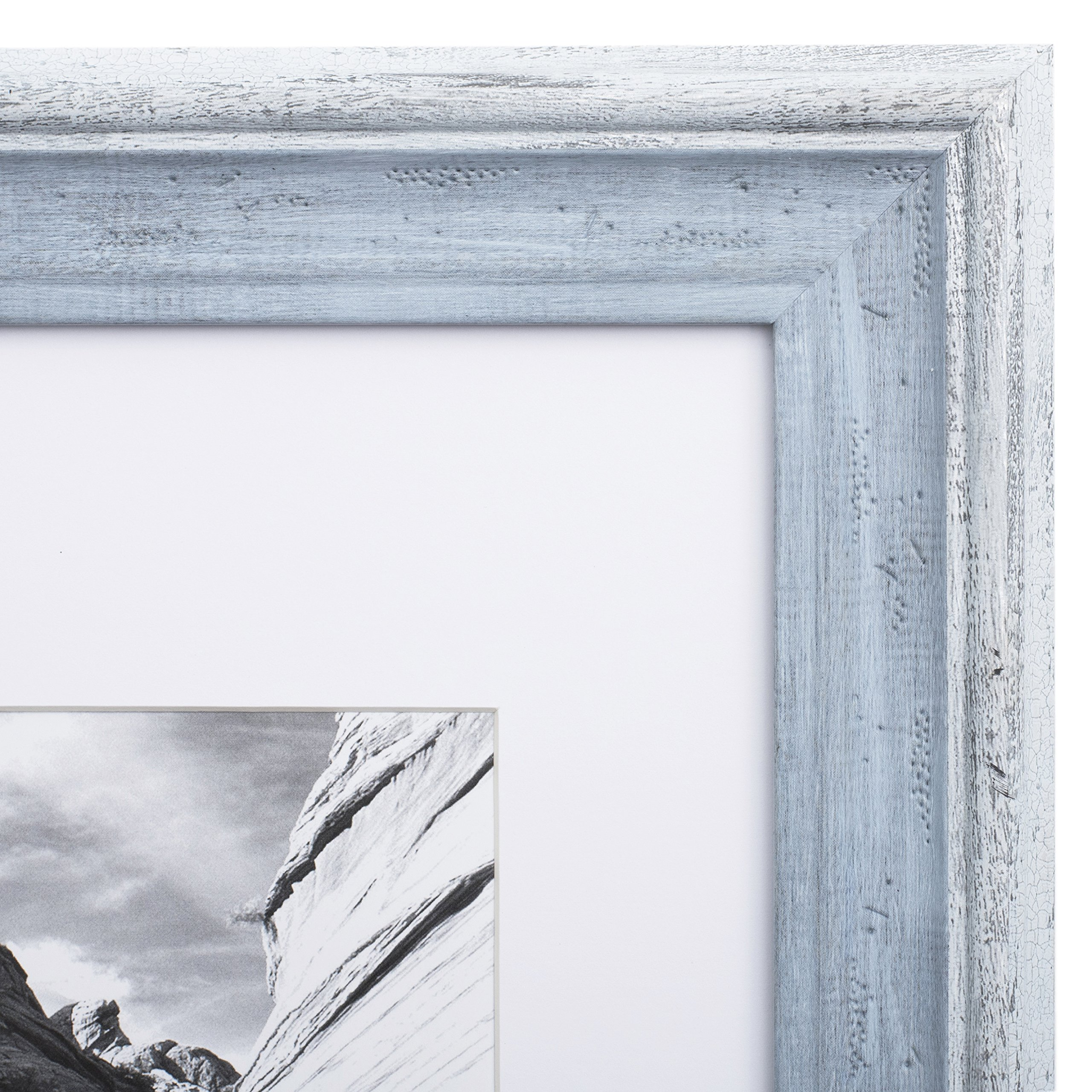11x14 Picture Frame Distressed Blue - Matted to 8x10, Frames by EcoHome by Eco-home