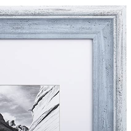 Amazon.com - 11x14 Picture Frame Distressed Blue - Matted to 8x10 ...