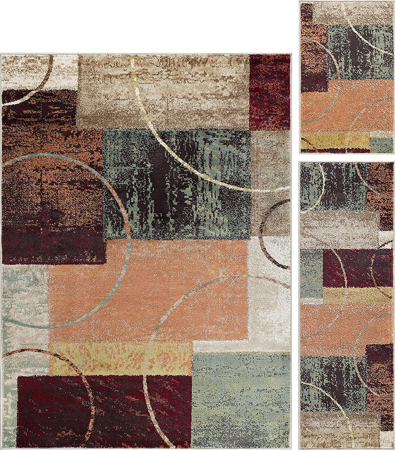 Universal Rugs 1004 Deco 3-Piece Contemporary Area Rug Set, 5 by 7-Feet/20 by 60-Inch/20 by 32-Inch, Multicolor DCO1004 SET3
