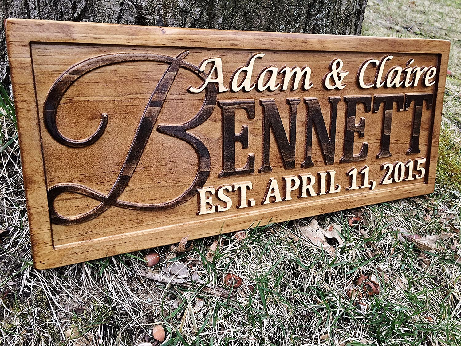 amazoncom personalized family name sign personalized wedding gifts wall art rustic home decor custom carved wooden signs couples 5 year wood anniversary - Wood Sign Design Ideas