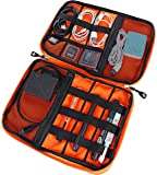 DTN Living Travel Organizer Electronics Cord Organizer Case, Cable Management Case, Universal Double Layer Travel Bag, Portable Cable Accessories Organizer with Carrying Strap, Grey/Orange