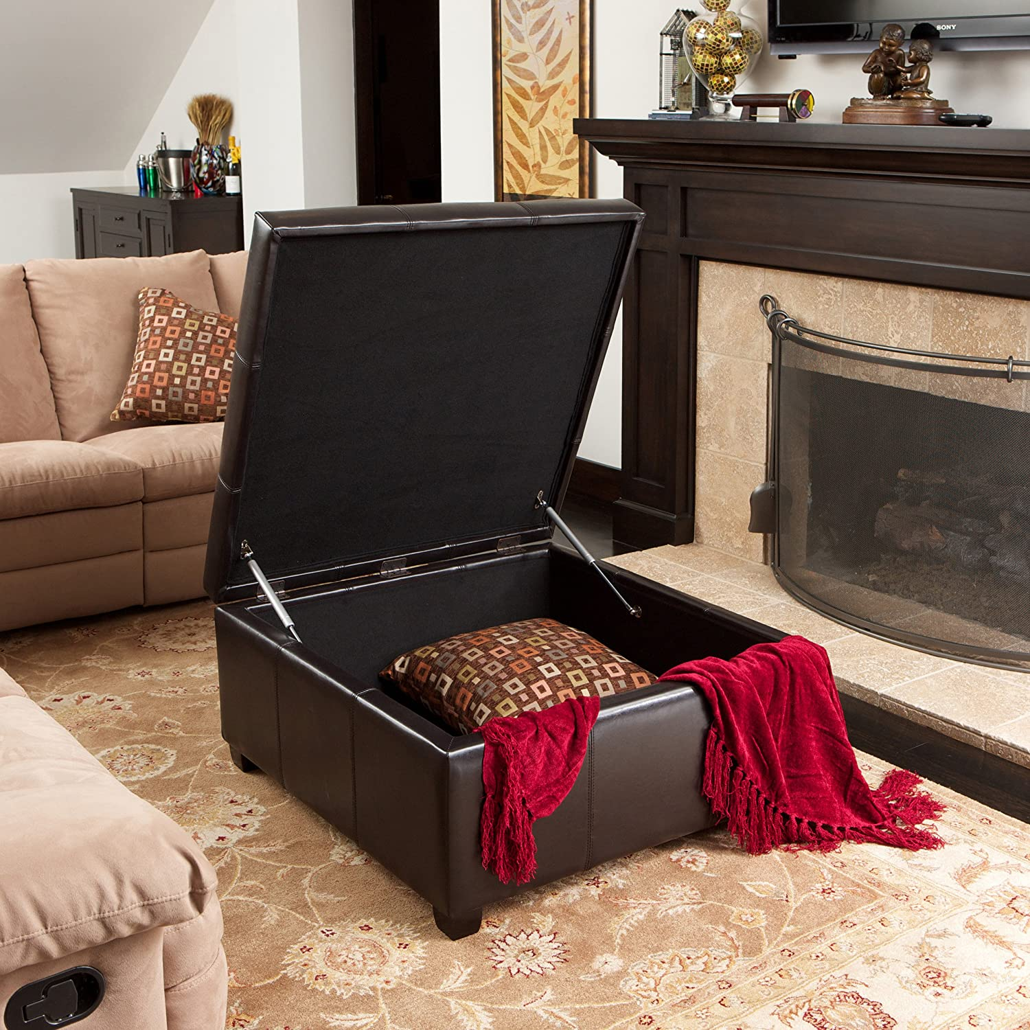 - Amazon.com: Boston Espresso Leather Storage Ottoman: Kitchen & Dining