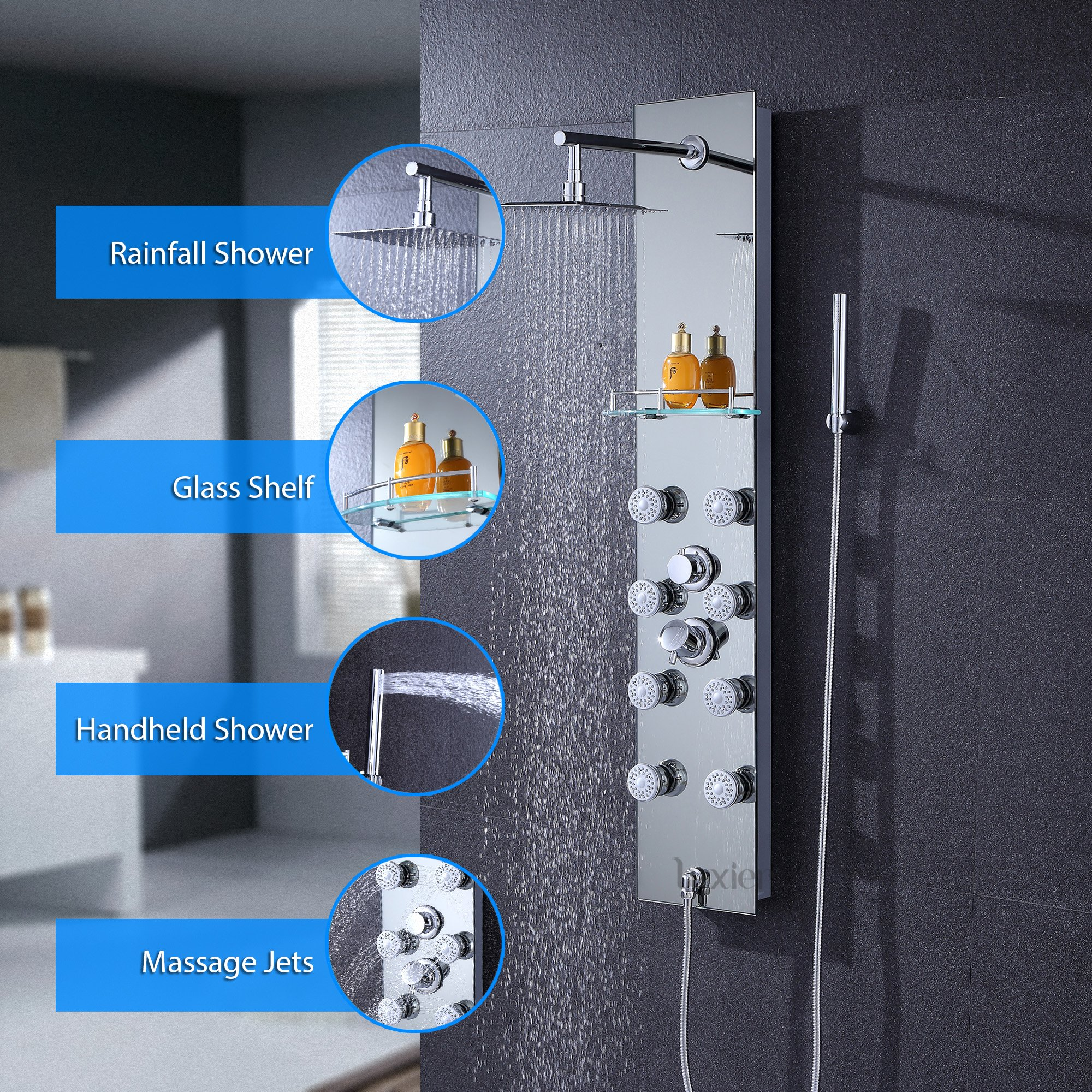 Luxier 026-GS-SLR 51'' Aluminum Safety Silver Tempered Glass Rainfall Shower Panel Rain Massage System Faucet with Jets & Hand Shower