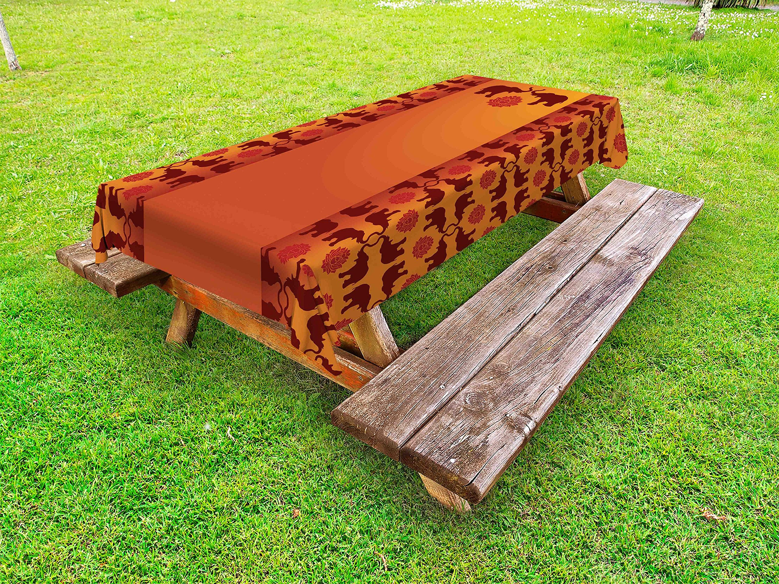 Lunarable Ethnic Outdoor Tablecloth, African Safari Animal Elephant with Tribal Ethnic Details Ombre Art, Decorative Washable Picnic Table Cloth, 58 X 84 inches, Orange Burgundy and Red