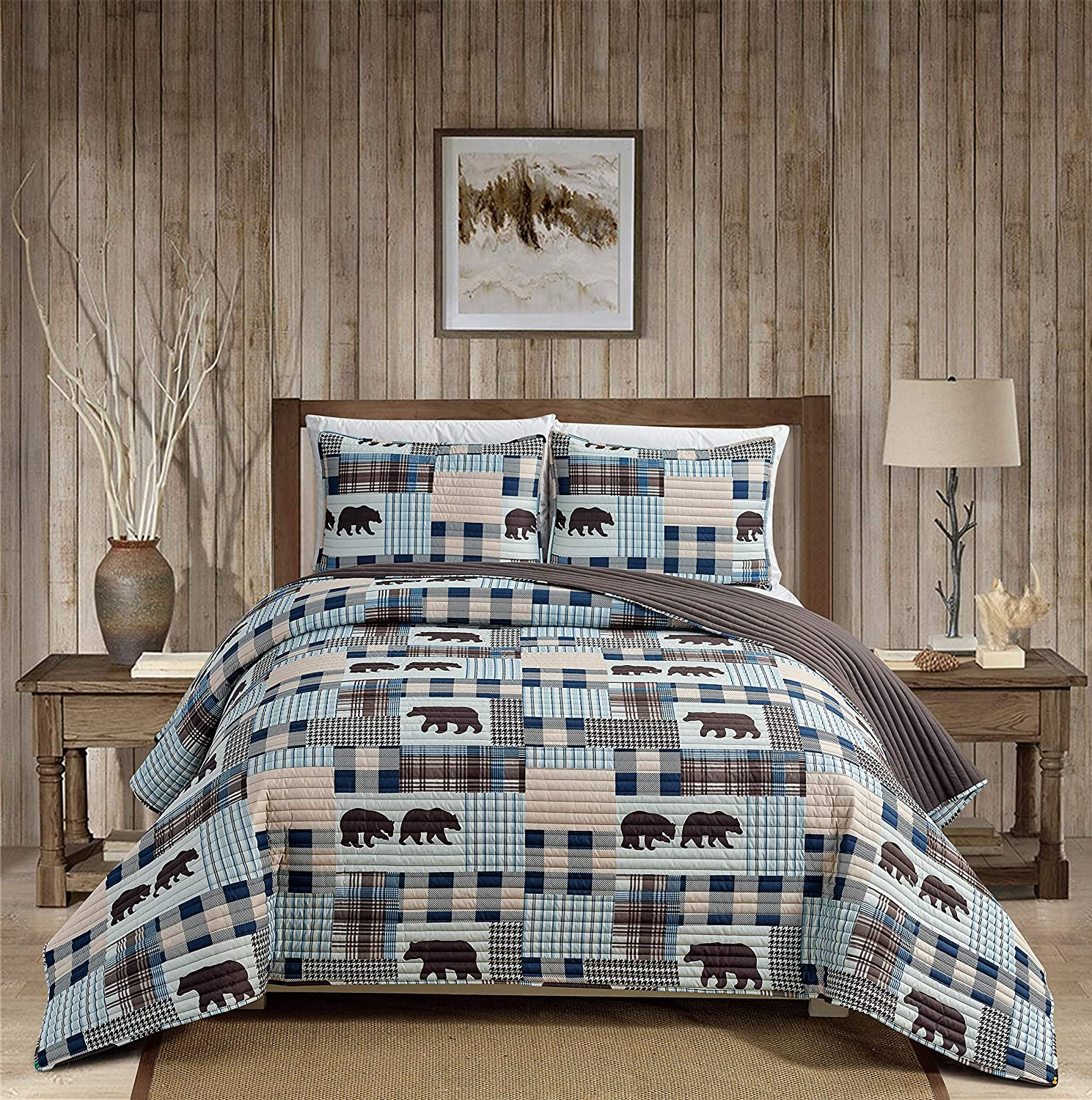 Rustic Modern Farmhouse Cabin Lodge Stripe Quilted Bedspread Coverlet Bedding Set with Patchwork Grizzly Bears and Buffalo Plaid Check Patterns Beige Blue - Western 2 (Twin)