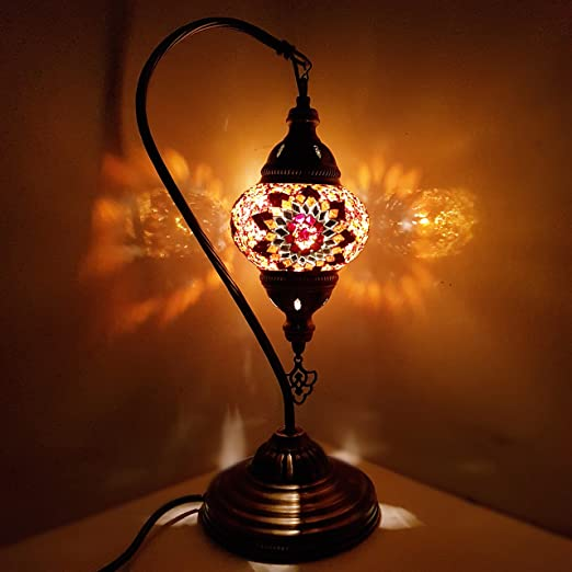 Turkish moroccan lamp glass desk table lamp with uk plug and switch g16