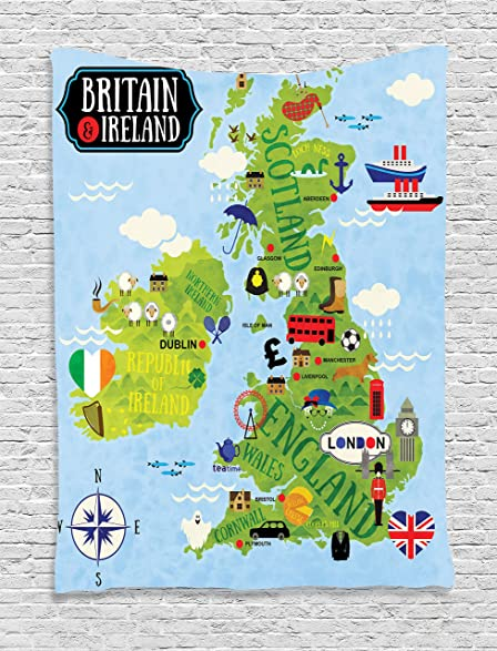 Amazon wanderlust decor tapestry by ambesonne cartoon maps of wanderlust decor tapestry by ambesonne cartoon maps of britain and ireland for child children art gumiabroncs Image collections