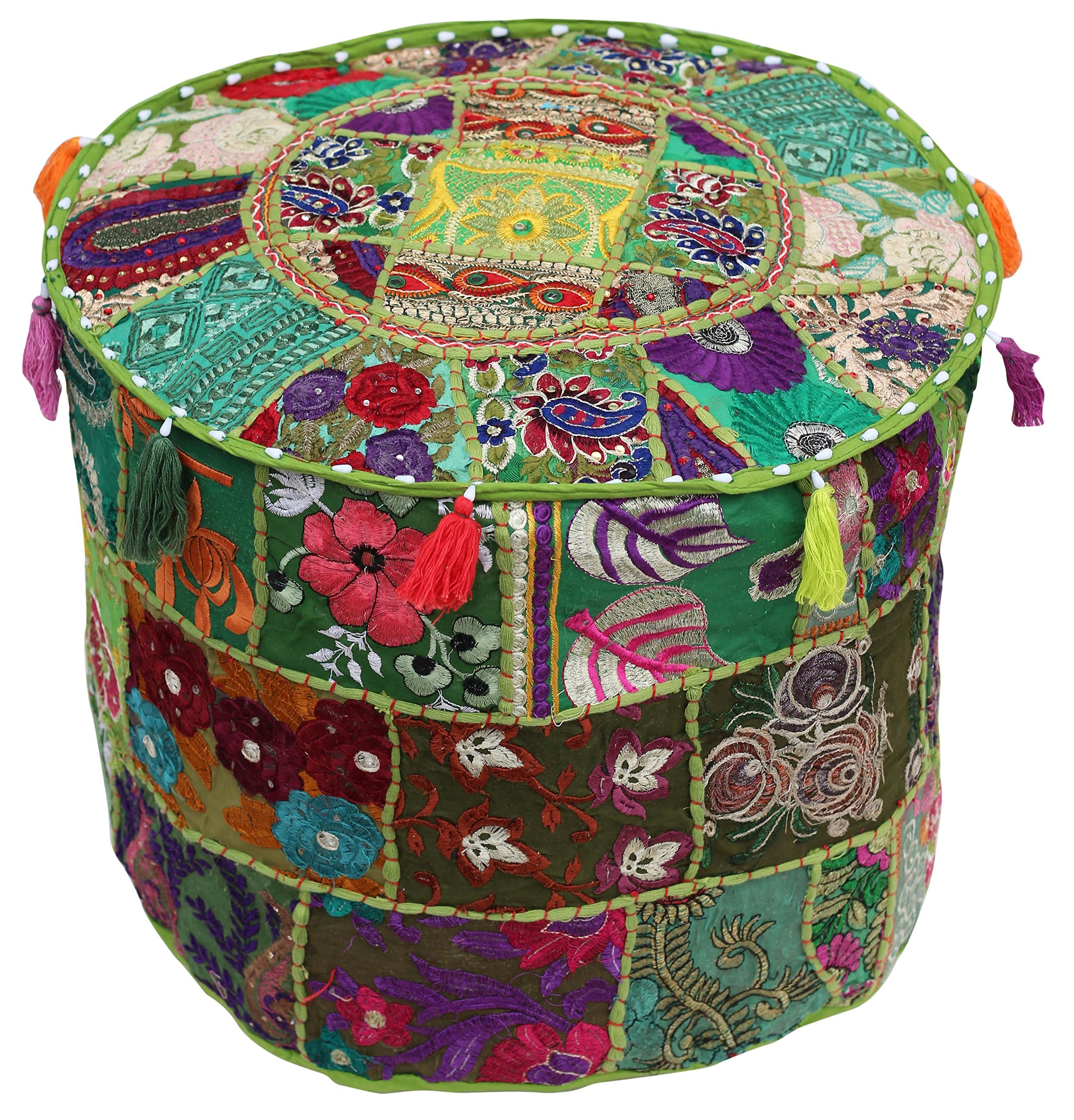 SALE on Pouf Cover - PREMIUM QUALITY - Southwest Ottomans Moroccan Pouf 18.5''x14'' Handmade Bohemian Foot Stool in 100% Cotton Fabric with Patchwork