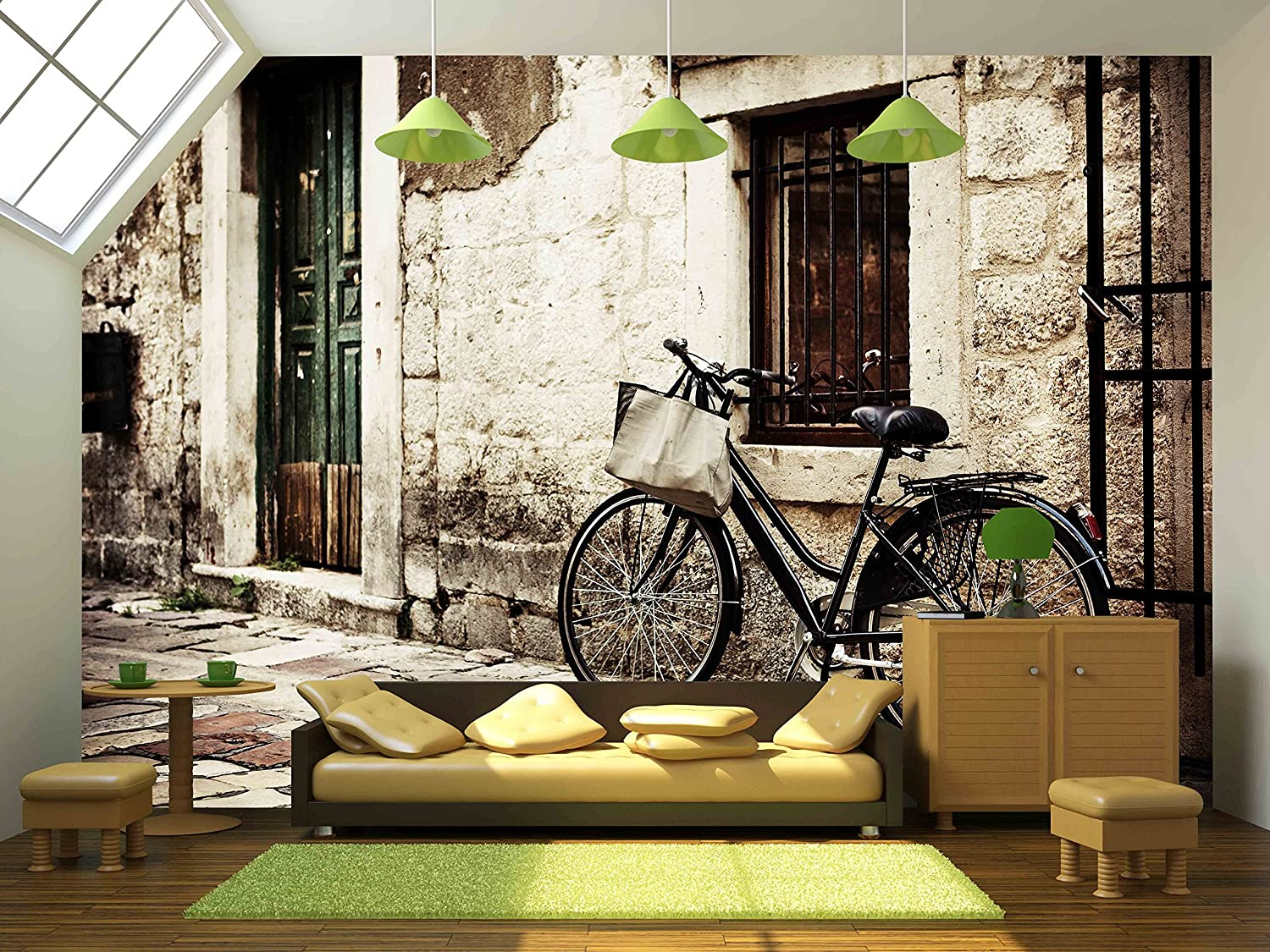 wall26 com art prints framed art canvas prints greeting wall26 bicycle with a shopping bag on handle bar left beside old stone wall removable wall mural self adhesive large wallpaper 100x144 inches