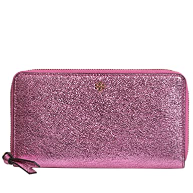 894bf2102155 Amazon.com  Tory Burch Crinkle Metallic Zip Continental Wallet (Pink ...