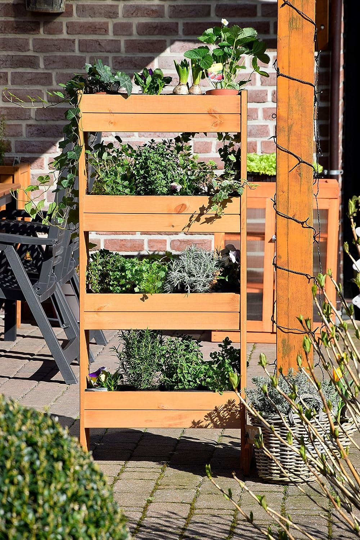 Dobar Cama de flores vertical con 4 maceteros de madera, cama elevada para jardín, terraza, balcón, incluyendo lámina de plantación, ámbar, 55 x 40 x 125 cm, 58372FSCe: Amazon.es: Productos para mascotas