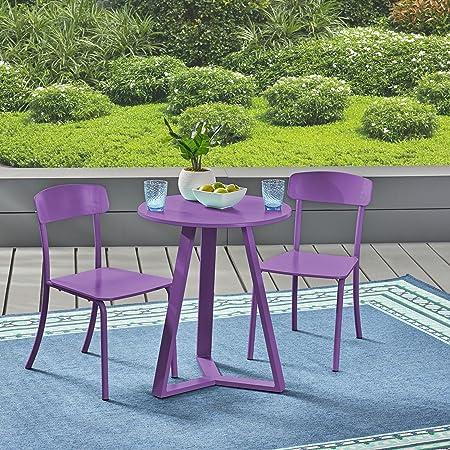 Great Deal Furniture Larissa Outdoor Bistro Set, Matte Purple