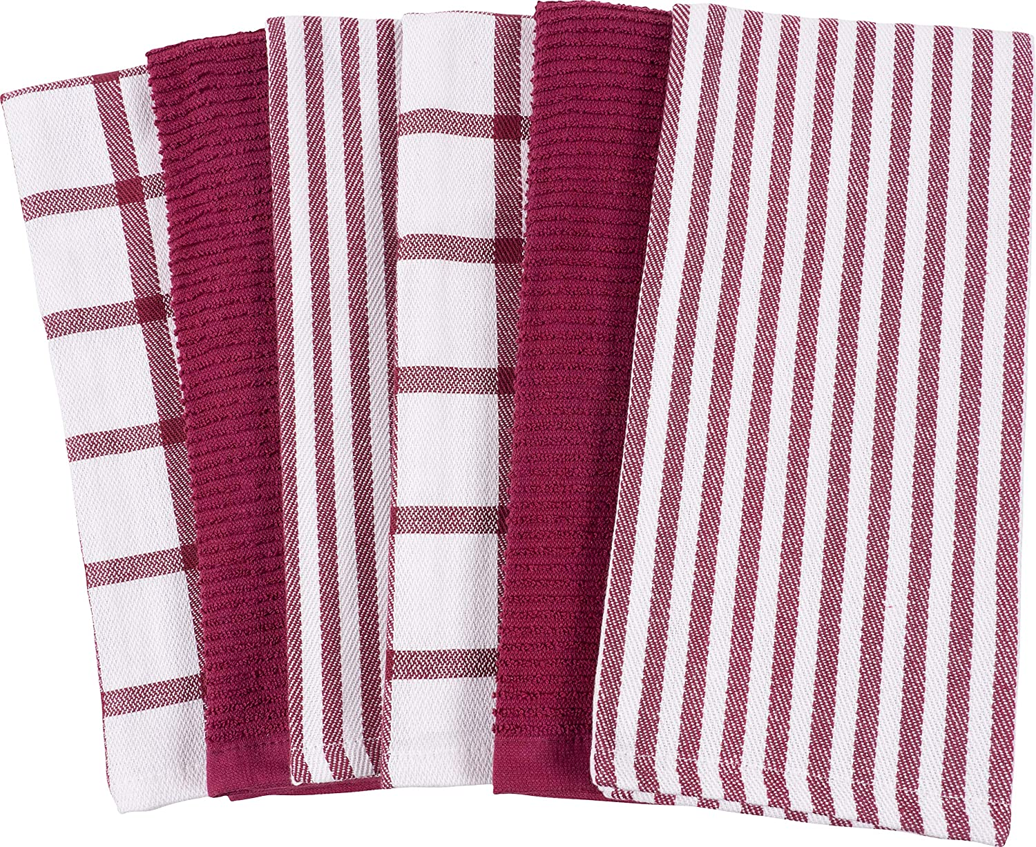 KAF Home Mixed Flat & Terry Kitchen Towels | Set of 6 18 x 28 inches | 4 Flat Weave Towels Cooking Drying Dishes 2 Terry Towels House Cleaning Tackling Messes Spills (Black)