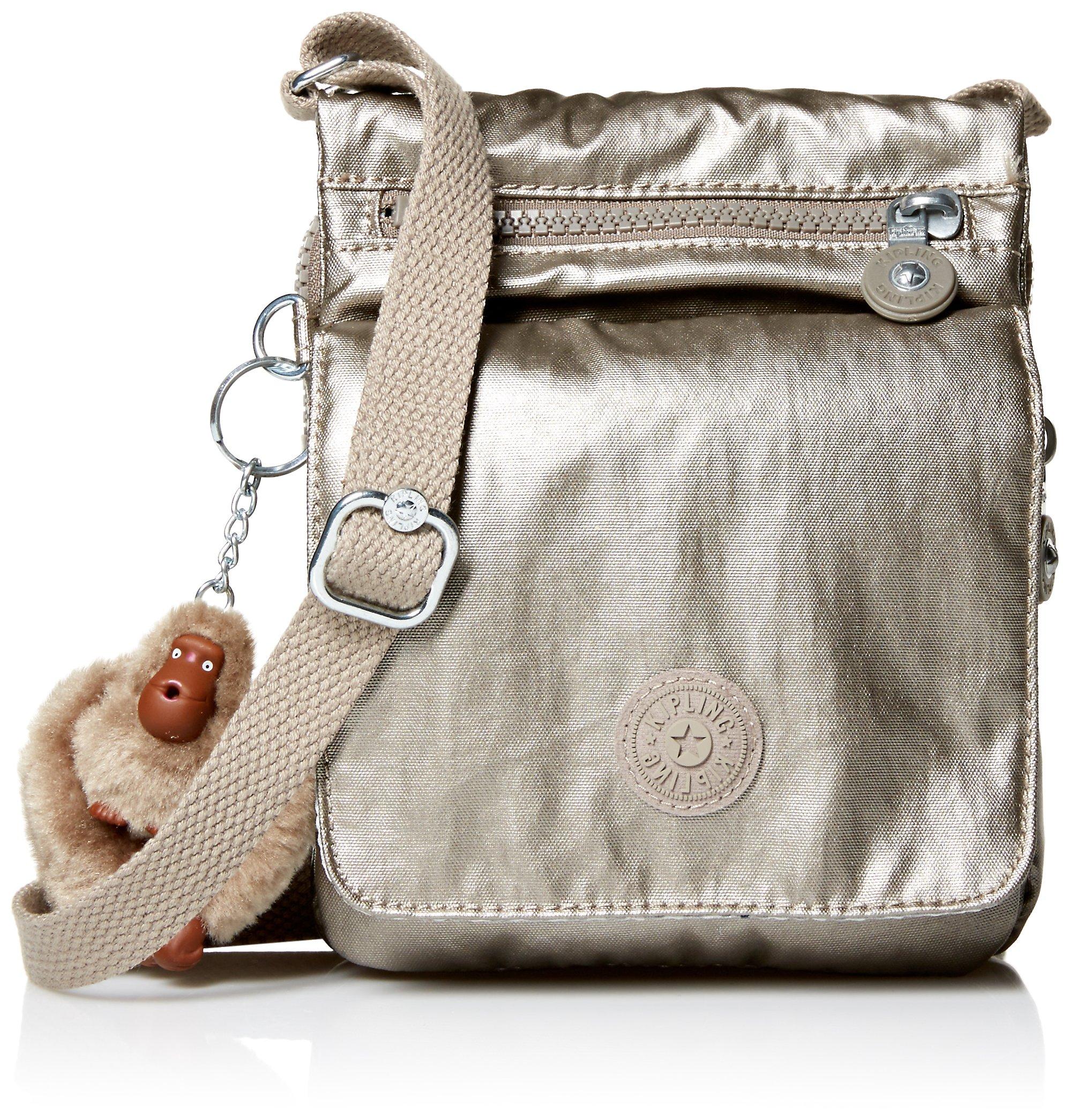 Kipling El Dorado Crossbody Essential Travel Bag, Metallic Pewter