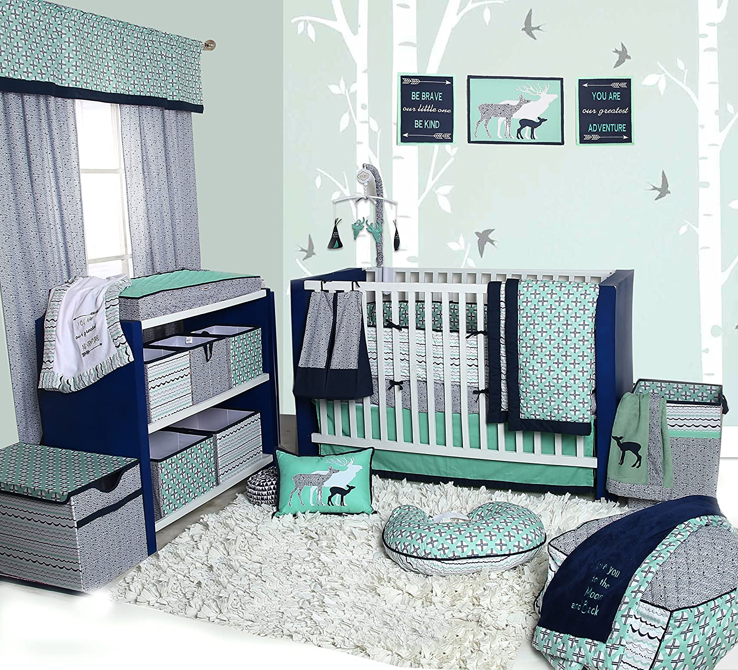Bacati Tribal 10-Piece Nursery-in-a-Bag Crib Bedding Set with Bumper Pad