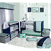 Bacati Noah Tribal 10 Piece Nursery-in-a-Bag Cotton Percale Crib Bedding Set with Bumper Pad, Mint/Navy