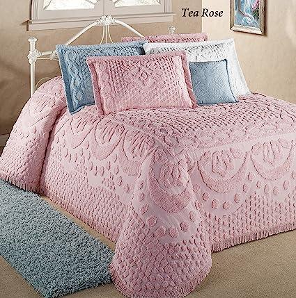 Chenille Bedspreads.Belle Maison R Bed Kingston Pastel Tufted Chenille Bedspread