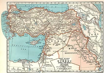 Amazon.com: 1943 Antique Turkey Map Original Vintage Map of ...