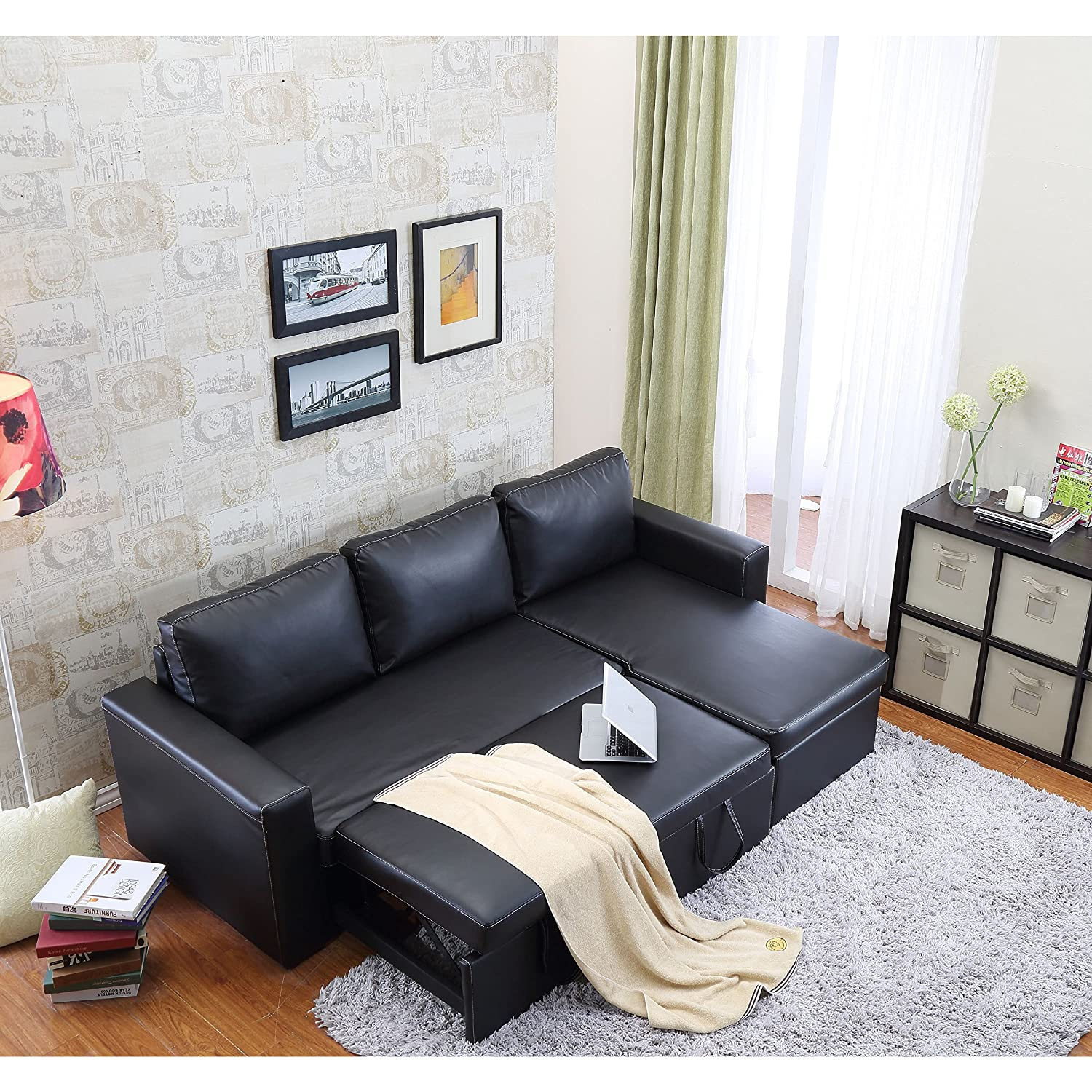 Amazon Geor own Bi Cast Leather 2 Pieces Sectional Sofa Bed