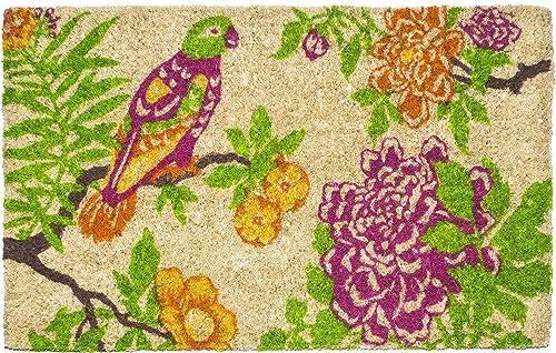 Entryways Summer Peony Hand woven Coconut Fiber Doormat, Multicolor